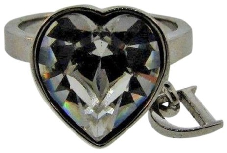 Christian Dior Rock Crystal Heart Dangling D Ring Size 4.75