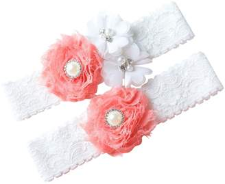The Pink Bunny Garters and White Wedding Garter Set