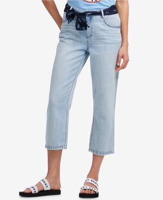 DKNY Scarf-Belt Cropped Boyfriend Jeans