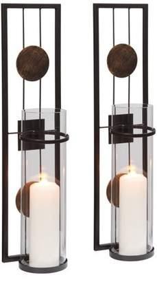 Danya B. 20 in. Modern Floating Decorative Metal Medallion Pillar Candle Sconces Wall Mount Set of 2