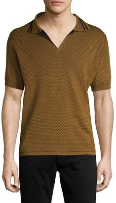 Dries Van Noten Men's Perforated Cotton Polo