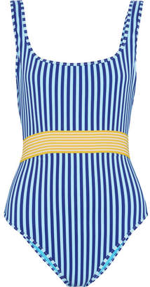 Belted Striped Swimsuit - Azure
