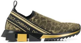 Dolce & Gabbana leopard print lurex knit sneakers
