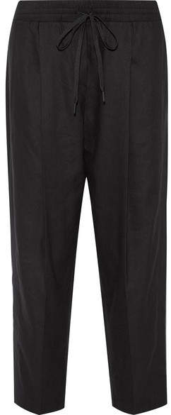 DKNY - Linen-blend Tapered Pants - Black