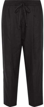 DKNY - Linen-blend Tapered Pants - Black $220 thestylecure.com