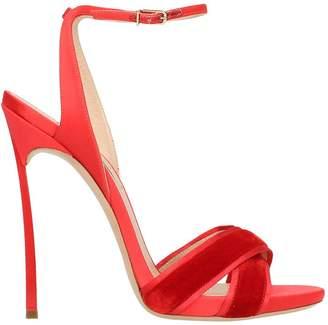 Casadei Red Suede Satin Sandals