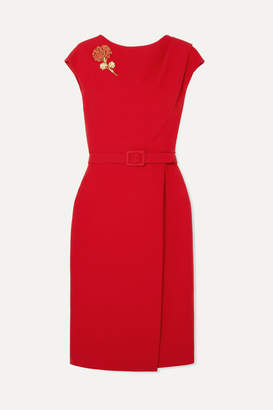 Oscar de la Renta Belted Embellished Wool And Silk-blend Cady Midi Dress - Red
