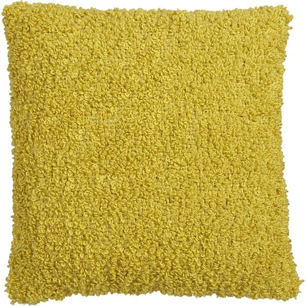 "Crate & Barrel Aubree Boucle Yellow 18"" Pillow"