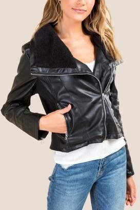 francesca's Slade Sherpa Lined Moto Jacket - Black