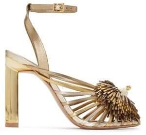 Mercedes Benz Castillo Castillo Women's Metallic Strappy Heeled Sandals - Gold - Size 5