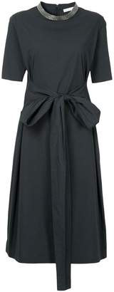 Fabiana Filippi belted round neck dress