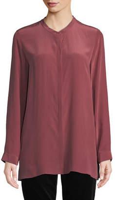 Eileen Fisher Long-Sleeve Silk Crepe de Chine Boyfriend Shirt, Petite