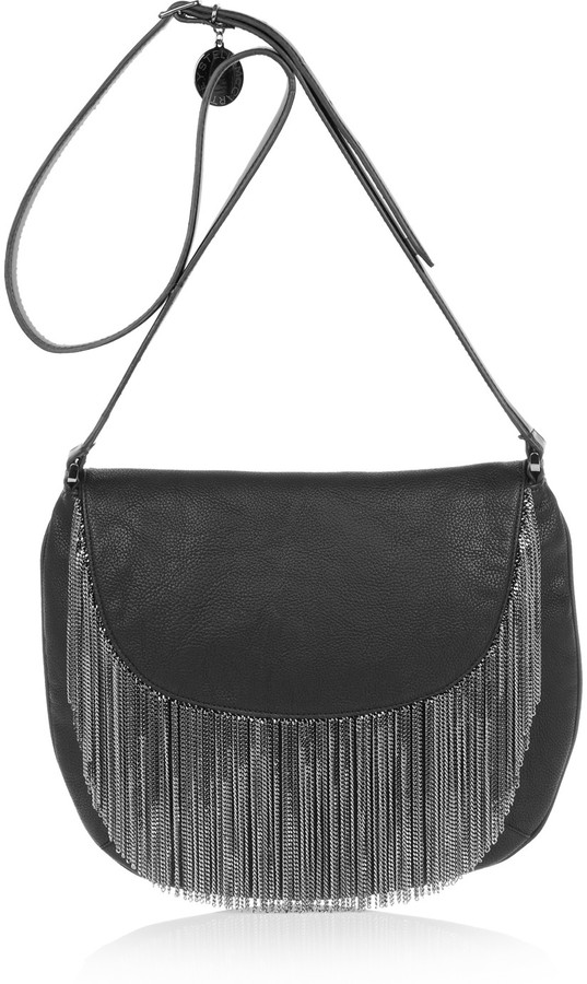 Stella McCartney Chain-fringed faux leather shoulder bag
