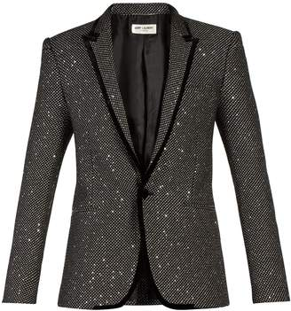 Saint Laurent Sequin-embellished velvet-trim tuxedo jacket