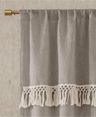 "Madison Park Brynn 50"" x 63"" Faux Linen Rod Pocket Window Curtain With Attached Tassel Trim Valance"