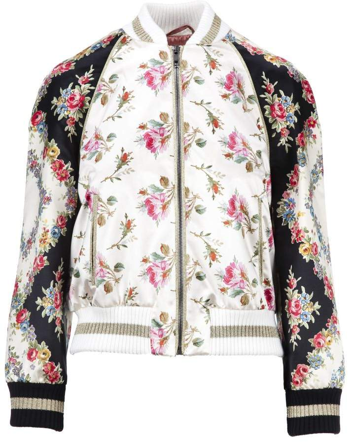 Rose Print Bomber Jacket