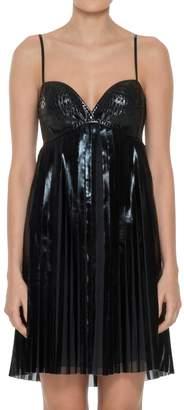 Max Studio Patent Coated Georgette Sleeveless Accordion Pleated Dress