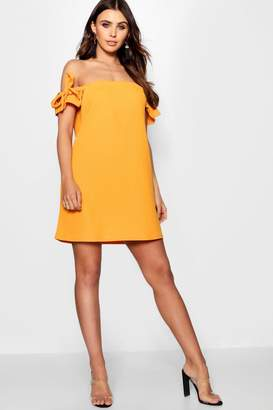 boohoo Petite Lacey Off The Shoulder Tie Sleeve Shift Dress