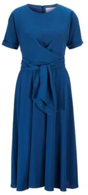 BOSS Lightweight wrap-front dress in stretch crinkle crepe