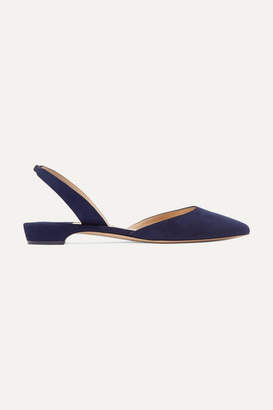 Paul Andrew Rhea Suede Point-toe Flats - Navy