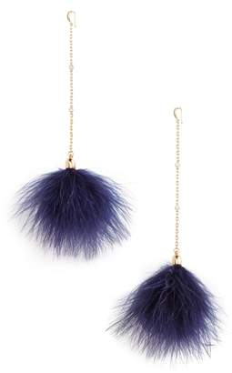 Ettika 18k Gold Plated Chain Pom Shoulder Duster Earrings
