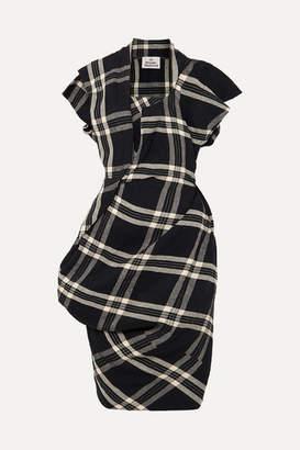 Vivienne Westwood Draped Plaid Linen Dress - Black