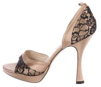 Christian Dior Lace High-Heel Sandals Brown Lace High-Heel Sandals