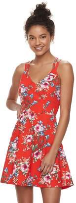 Trixxi Juniors' Strappy Floral Skater Dress