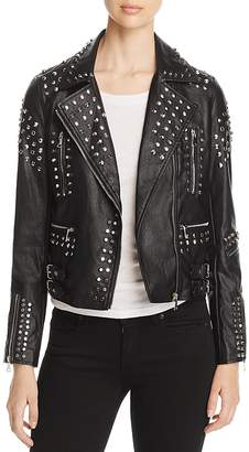 AQUA Studded Faux-Leather Moto Jacket - 100% Exclusive $148 thestylecure.com