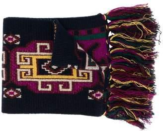 Etro fringed embroidered scarf