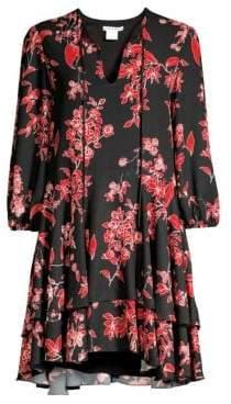 Alice + Olivia Moore Blouson-Sleeve Floral Dress