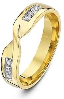Theia 9ct Yellow Gold 0.08ct Round Diamond Pave Set 4mm Twist Wedding Ring - Size O
