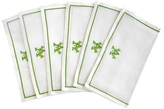 India Amory Linen Single Letter Monogrammed Dinner Napkins - Set Of 6