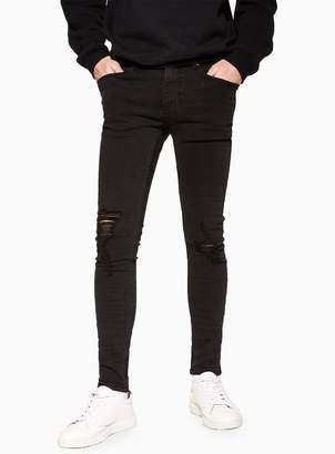 TopmanTopman Washed Black Ripped Spray On Jeans