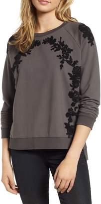 Lucky Brand Chenille Floral Trim Sweatshirt