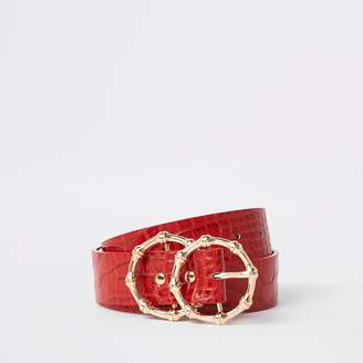 ef7a348f219 River Island Mens Womens Red croc double ring belt