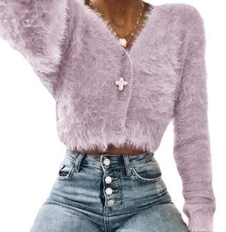 JXG Women Deep V-Neck Long Sleeve Mohair Cropped Cardigan Sweater US XS