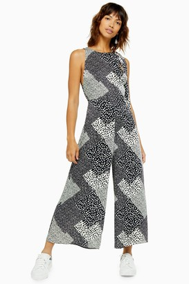 Topshop Womens Black And White Print Wide Leg Jumpsuit - Monochrome