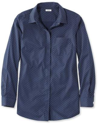 L.L. Bean L.L.Bean Wrinkle-Free Pinpoint Oxford Tunic, Long-Sleeve Slightly Fitted Bird's-Eye