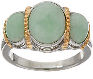 QVC Jade Oval 3-Stone Sterling Silver Ring