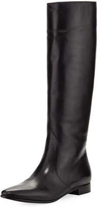 Prada Leather Flat-Heel Knee Boot