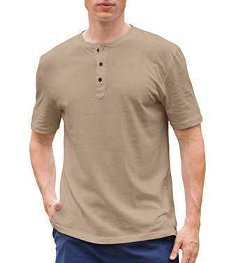 Janmid Men's Casual Fit Short Sleeve Henley T-Shirts Cotton Shirts XL