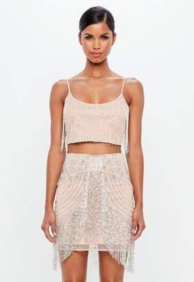 Missguided Nude Beaded Fringed Mini Skirt