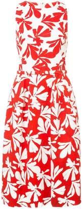 Oscar de la Renta leaf-print midi pencil dress