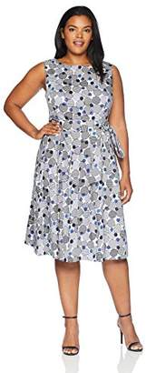Anne Klein Women's Size Plus Printed Cotton Fit & Flare Dress