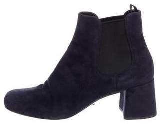 Prada Suede Square-Toe Chelsea Boots