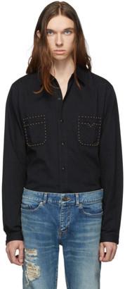Saint Laurent Black Straight Studs Long Sleeve Shirt