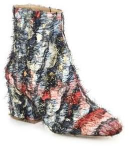 Salvatore Ferragamo Pisa 70 Fringed Multicolor Jacquard Block Heel Booties