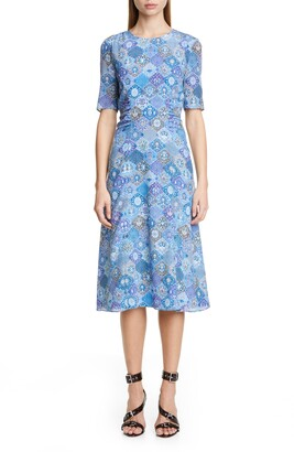 Altuzarra Tile Print A-Line Midi Dress