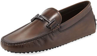 Tod's Gommini Double-T Leather Driver, Brown